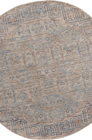 Transitional 4' Round Gray Wool Area Rug