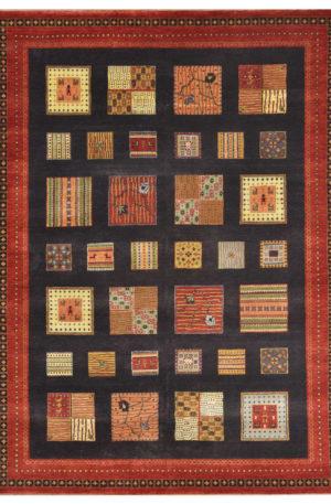 Tribal Design Charcoal/Red Wool 3x5 Loribaft Area Rug