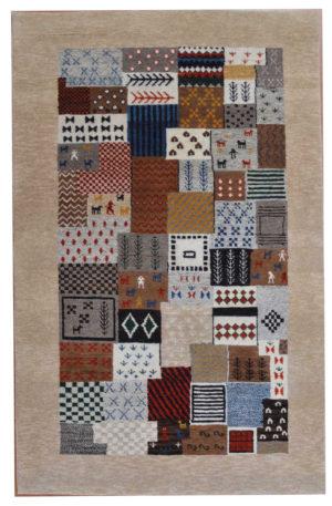 Tribal Design Multi/Beige Wool 3x5 Loribaft Area Rug