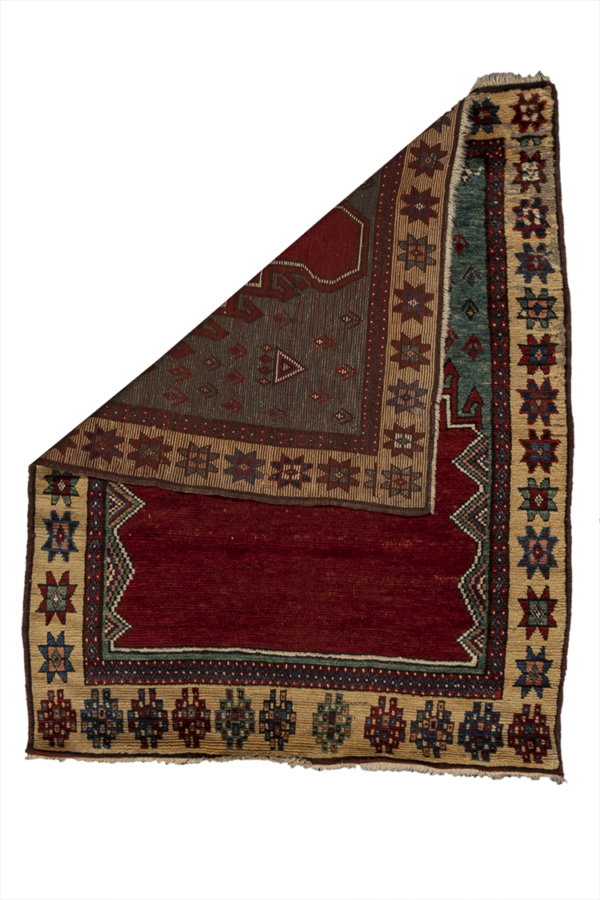 Antique Turkish 3X5 Red Gold Wool Area Rug