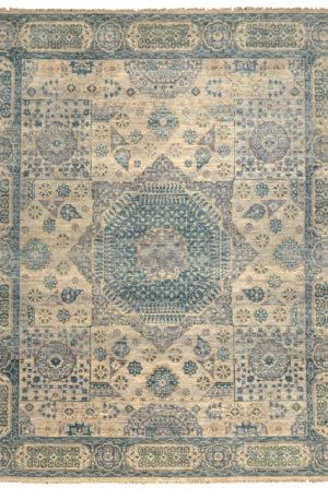 Mamluk Design India 8X10 Silver Blue Wool Area Rug