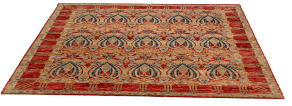 Arts & Crafts 8X10 Red Blue Wool Area Rug