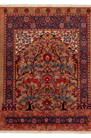 Persian Heriz 4X6 Gold Blue Wool Area Rug