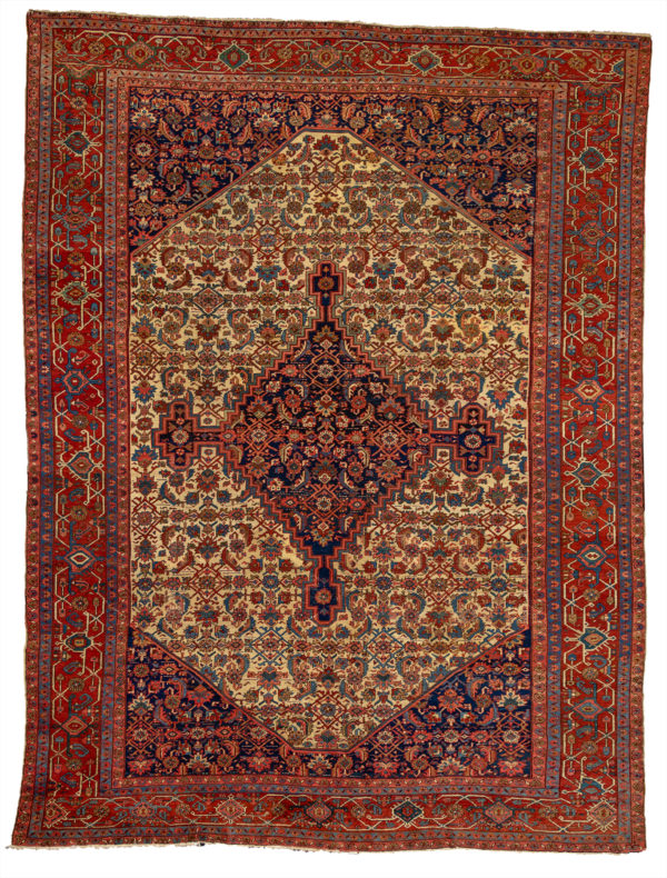 Persian Heriz 10X14 Ivory Red Wool Area Rug