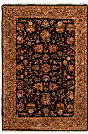 4X6 Black Beige Wool Area Rug