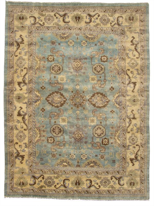 10X14 Blue Ivory Wool Area Rug