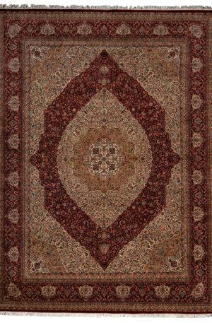 Mohtashem Design 9X12 Red Ivory Wool Area Rug