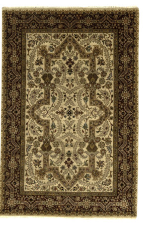 4X6 Ivory Red Wool Area Rug