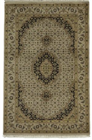 Tabriz Mahi Design India 4X6 Ivory Ivory Wool Area Rug