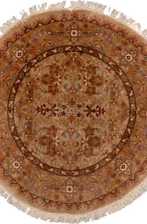 3' Round Beige Gold Wool Area Rug