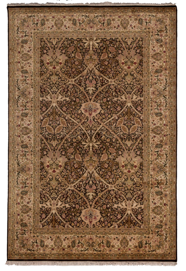 William Morris Design 6X9 Brown Ivory Wool Area Rug