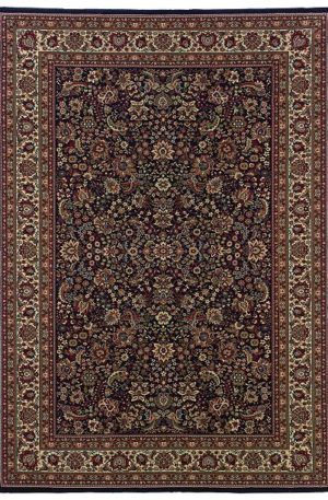 Machine Made 5X8 Blue Ivory Synthetic Area Rug