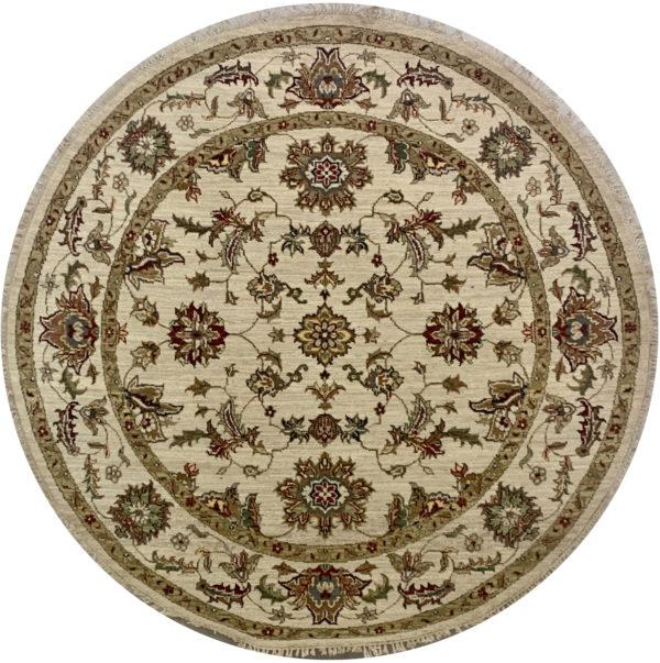 Traditional Design Beige/Beige Wool 5 Foot Round Ziegler Area Rug