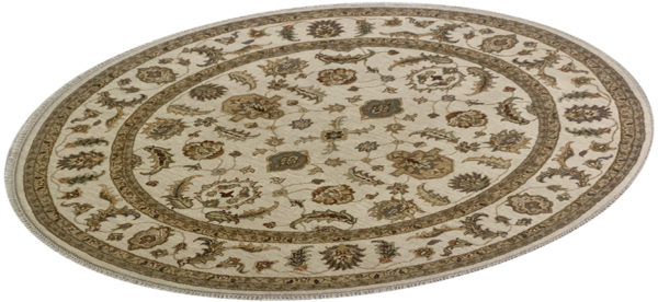 Traditional Design Ivory/Ivory Wool 6 Foot Round Ziegler Area Rug