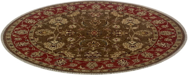 Traditional Design Brown/Red 4 Foot Round Ziegler Area Rug