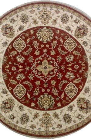 Traditional Design Red/Ivory Wool 6 Foot Round Ziegler Area Rug