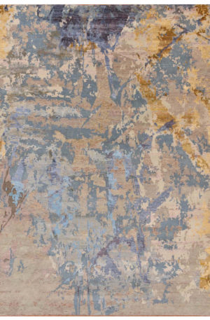 Contemporary Design Beige Wool and Art Silk Abstract Area Rug