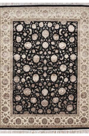 Traditional Design Black/Ivory Wool & Silk 4x6 New Elegance Area Rug