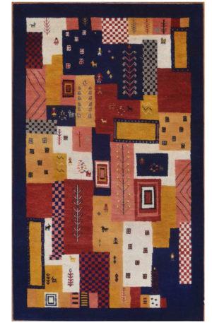 Tribal Design Multi/Blue Wool 3x5 Loribaft Area Rug