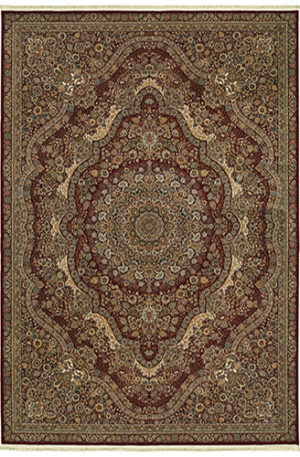 Machine Made 5X8 Red Red Synthetic Area Rug