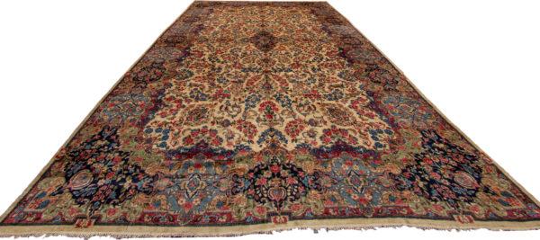 Persian Kerman Ravar Oversize Ivory Wool Area Rug