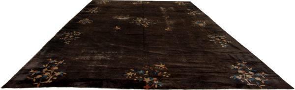Antique Art Deco 10X14 Brown Black Wool Area Rug