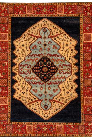 James Opie 10X14 Blue Red Wool Area Rug