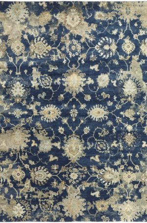 Trident 4x6 Blue and Ivory Area Rug