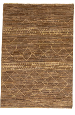 4x6 Beige Moroccan Style Tribal Rug