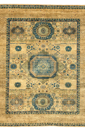 8x10 Blue and Ivory Mamluck Area Rug