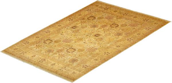 Amritsar Design 10X14 Ivory Ivory Wool Area Rug