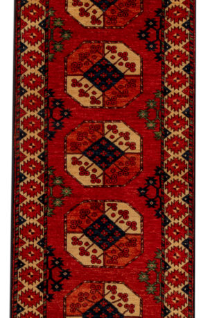 Afghan Turkmen Ersari Runner Red Ivory Wool Area Rug