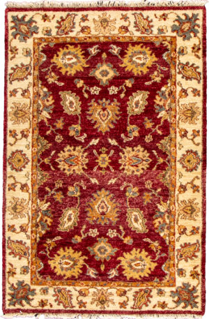 4X6 Red Ivory Wool Area Rug