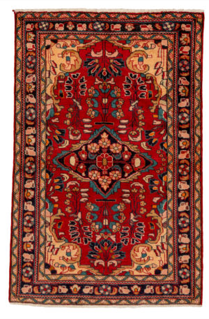 Persian Hamadan 4X6 Red Blue Wool Area Rug