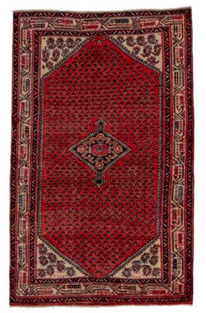 Persian Hamadan 4X6 Red Ivory Wool Area Rug