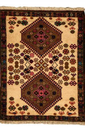 Persian Yalameh 3X5 Ivory Beige Wool Area Rug