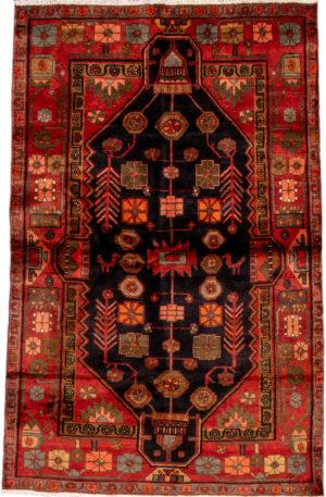 Persian Hamadan 4X6 Black Red Wool Area Rug