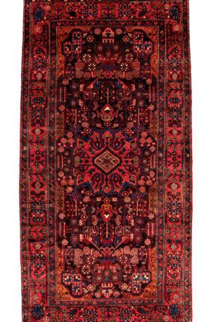 Persian Hamadan 6X9 Black Red Wool Area Rug