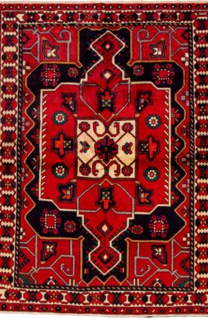 Persian Hamadan 5X8 Red Ivory Wool Area Rug