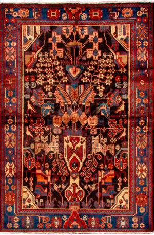 Persian Hamadan 4X6 Black Blue Wool Area Rug