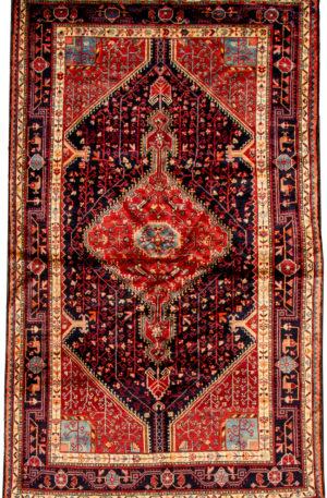 Persian Hamadan 5X8 Black Black Wool Area Rug