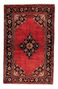 Persian Hamadan 4X6 Red Black Wool Area Rug