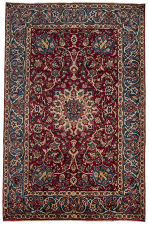 Persian Yazd 6X9 Red Blue Wool Area Rug