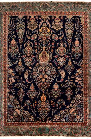 Persian Sarouk 9X12 Blue Blue Wool Area Rug
