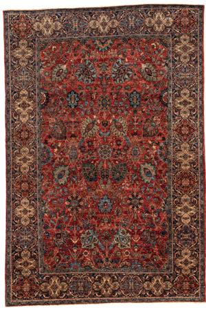 Afghan 6X9 Red Blue Wool Area Rug