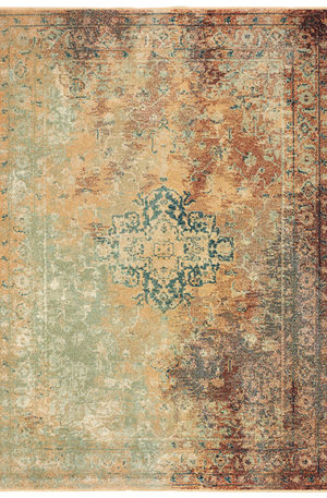 Dawson Collection Transitional 3X5 Red Multi Area Rug