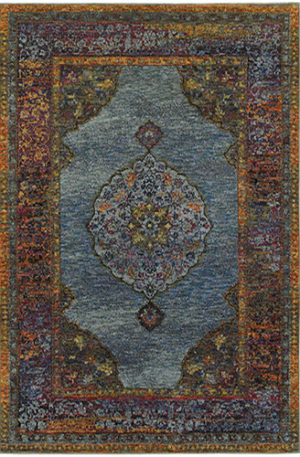Catalan Collection 3X5 Blue Transitional Design Area Rug