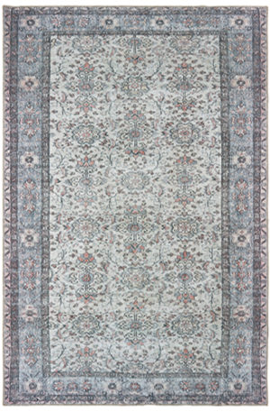 Turkish Transitional 4X6 Ivory Gray Synthetic Area Rug