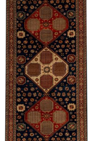 Afghan 5X8 Blue Red Wool Area Rug