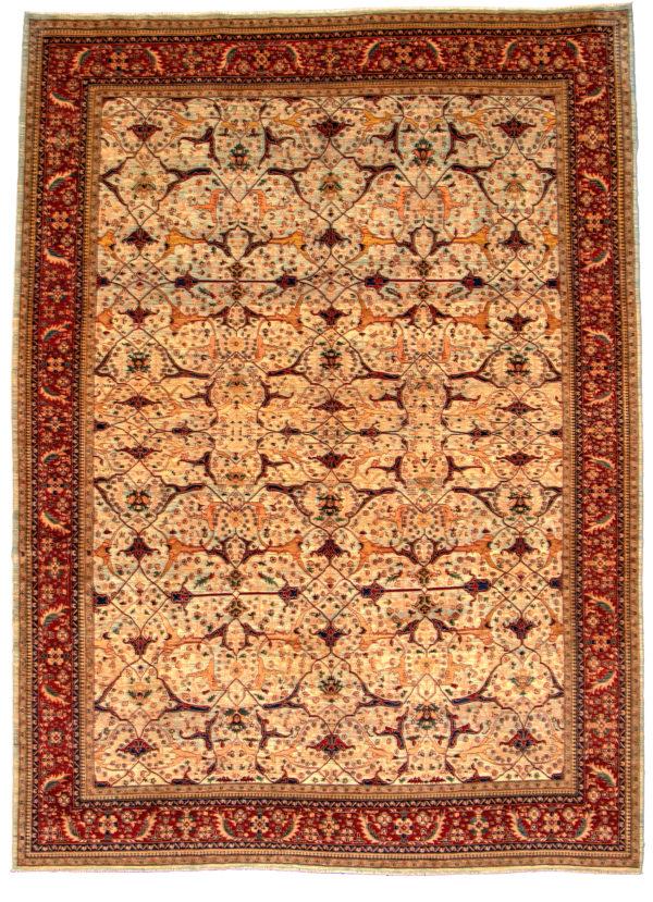 Afghan 10X14 Blue Red Wool Area Rug